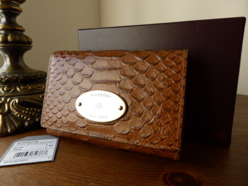 Mulberry French Purse in Oak Silky Snake Print Leather