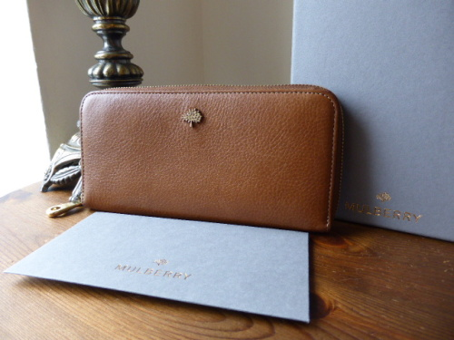 Mulberry Tree Zip Around Continental Wallet / Purse in Oak Natural Leather