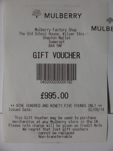 Mulberry Gift Voucher for £995 (Valid all UK Stores & Outlets for 12 months