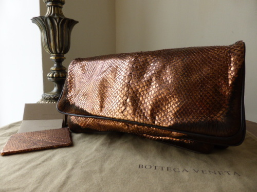 Bottega Veneta Fold Over Clutch in Copper Metallic Python