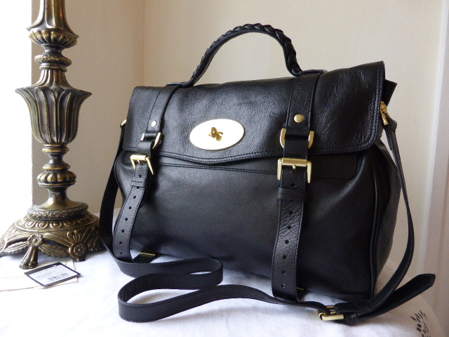 Mulberry Oversized Alexa in Black Buffalo Leather - New (ref 2)