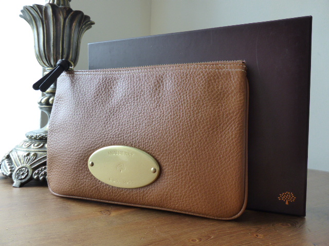 Mulberry Locked Cosmetic Pouch in Oak Darwin Leather - New