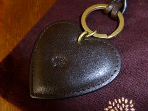 Mulberry Heart Keyring Bag Charm in Oak Natural Leather