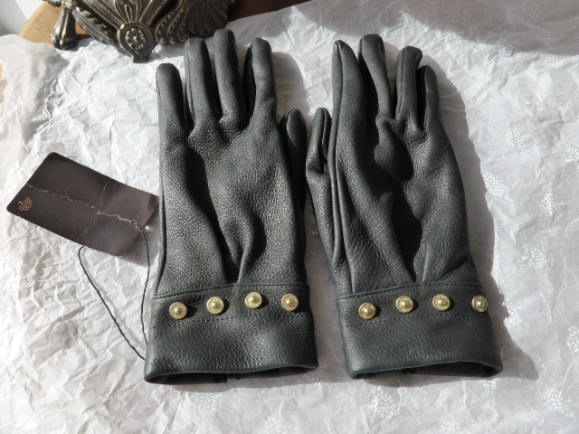 Mulberry Black Leather Fur Lined Gloves - SOLD