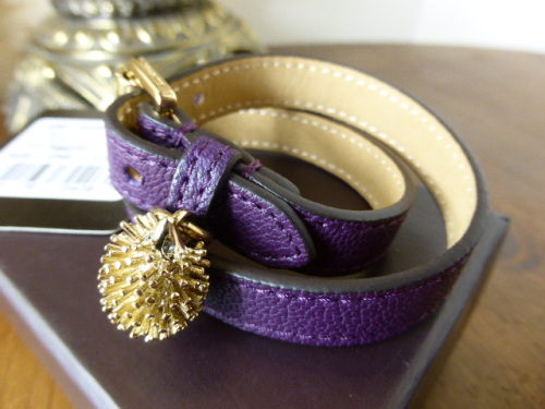 Mulberry Margaret Skinny Belt in Plum with Teapot Charm - New