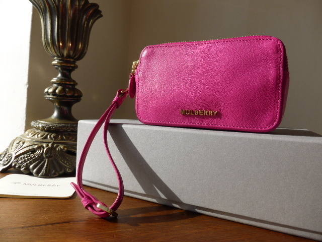 Mulberry Wristlet Pouch Pink Glossy Goat NEW