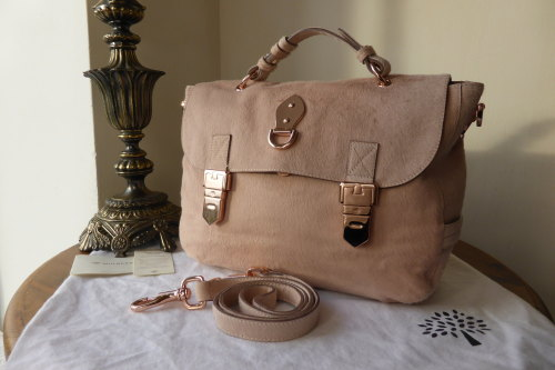 Mulberry Tillie Satchel in Blush Haircalf with Rose Gold Hardware