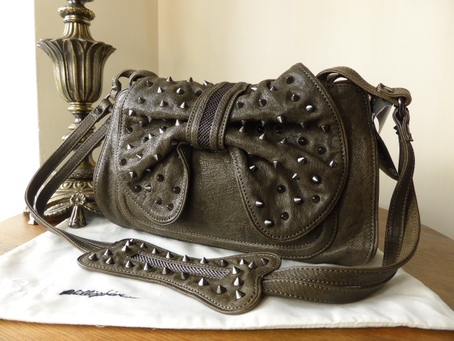Phillip Lim 3.1 Edie Studded Bow Bag in Grey Chevre - New