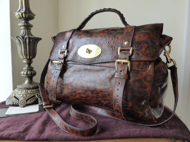 Mulberry Oversized Alexa in Shiny Oak Leopard Print Leather