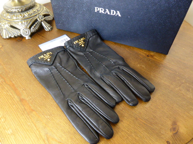 Prada Cashmere Lined Gloves in Black Lambskin - New