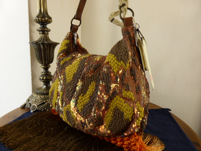 Matthew Williamson Silk & Sequin Fringe Hobo in Papaya - As New