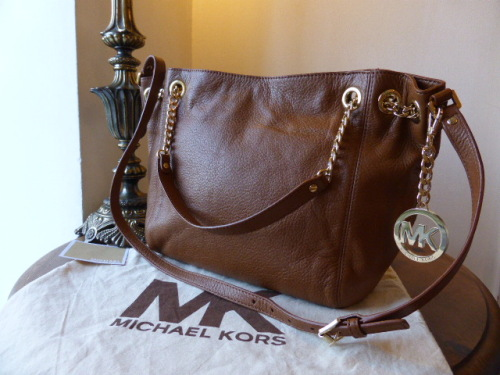 Michael Kors Large Skorpios Tote in Luggage (Oak) Pebbled Leather - New