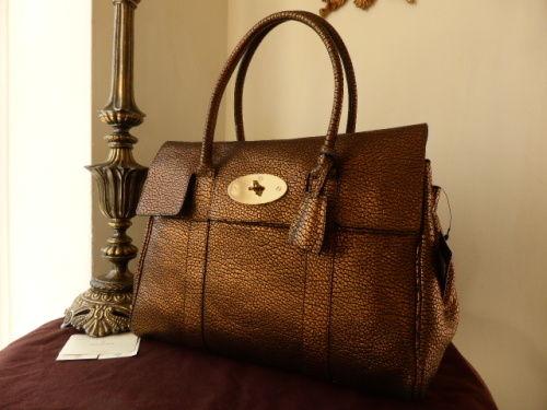 Mulberry Bayswater in Hedgehog Maxi Grain Metallic Bronze Leather - New*