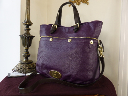 Mulberry Mitzy Tote in Eggplant Pebbled Leather