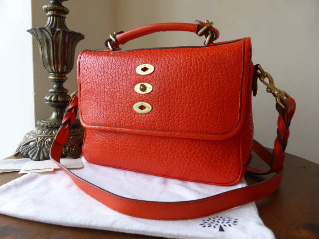 Mulberry Bryn in Flame Shiny Grain Leather - SOLD