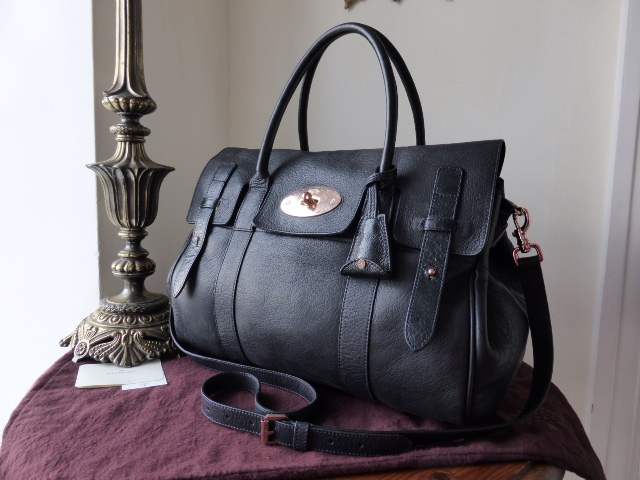 Mulberry Heritage Bayswater Satchel in Nightshade Blue with Rose Gold Hardw
