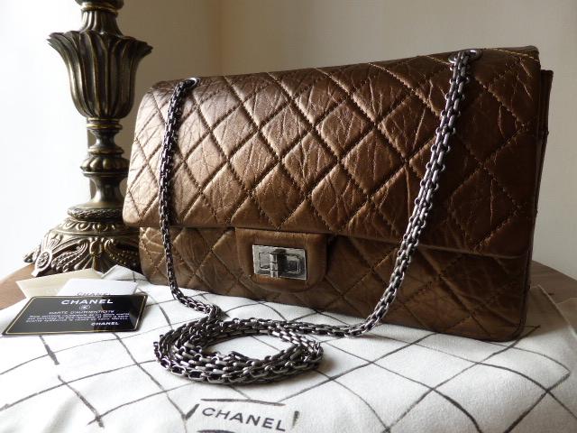 Chanel Metallic Blue 227 Mademoiselle Jumbo Flap