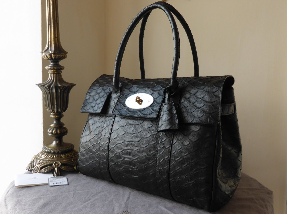 Mulberry Bayswater in Black Large Silky Snake Nappa - New