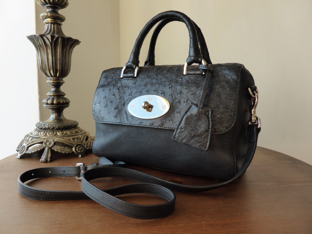 Mulberry Del Rey in Black Classic Calf and Ostrich Mix (smaller sized) - SO