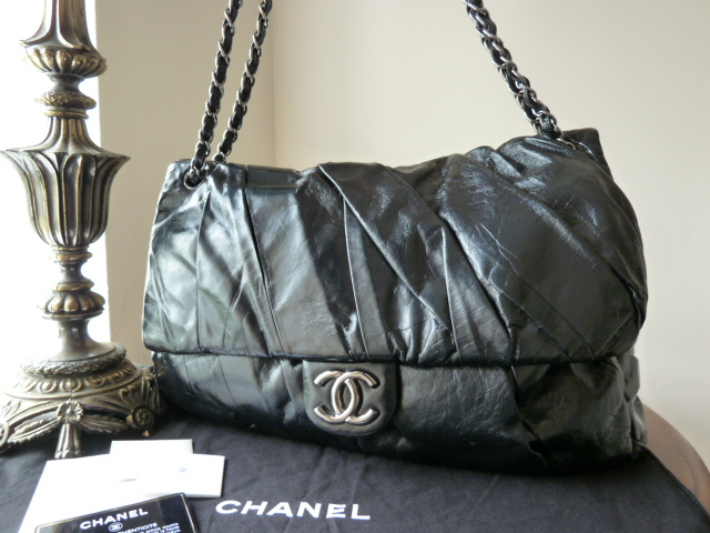 Chanel Twisted Jumbo Flap in Black Glazed Calfskin - SOLD