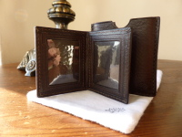 Mulberry Travel Photo Frame Mini in Chocolate Darwin Leather - New