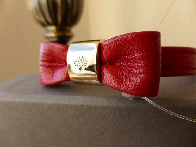 Mulberry Bow Bracelet in Bright Red Glossy Goat - New