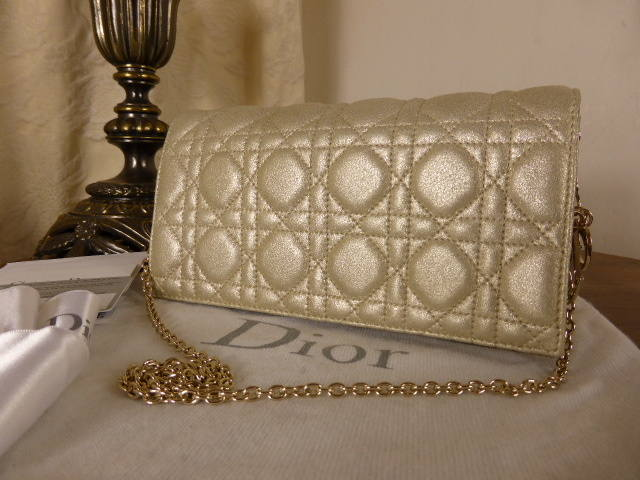 Dior Rendez vous Cannage Champagne Metallic Evening Bag