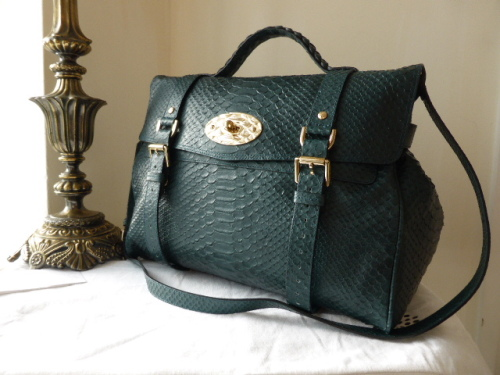 564b2edc8a Mulberry Oversized Alexa in Petrol Silky Snake Printed Leatherc- SOLD