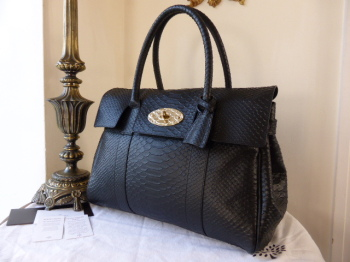 0d99216b7f03 Mulberry Bayswater in Black Silky Snake with Feature Postmans Lock - SOLD