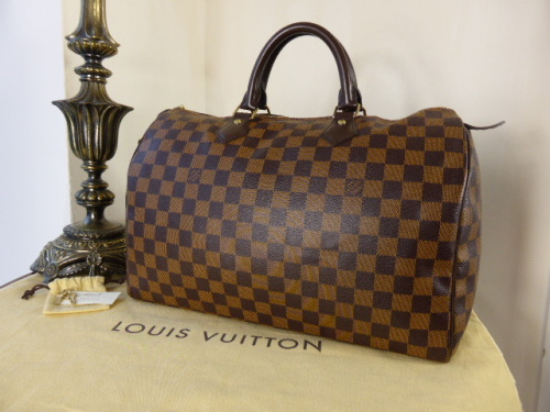 6be7c3309b06 Louis Vuitton Speedy 35 in Damier Ebene   Base Shaper - SOLD