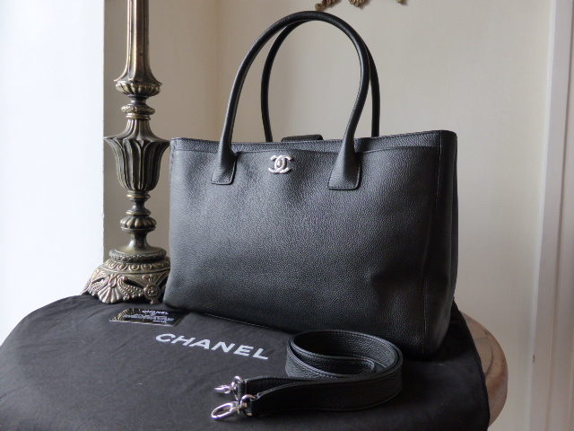 7cc45d81b4a0d0 Chanel Cerf Executive Tote in Black Calfskin with Silver Hardware ...