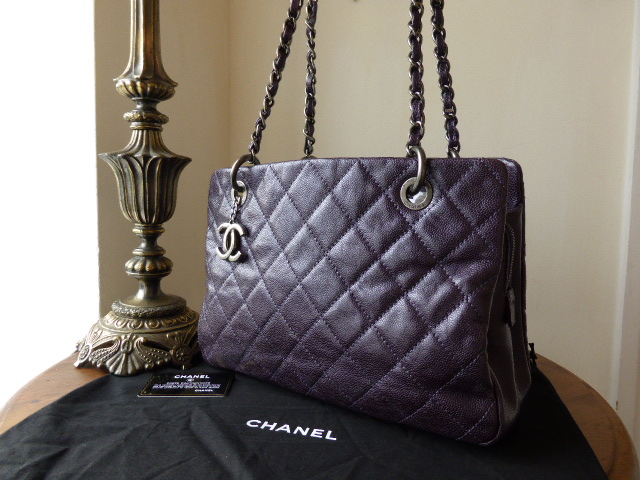 Chanel Medium Tote in Purple Metallic Caviar