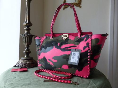 Valentino Rockstud Tote Camo Pink New