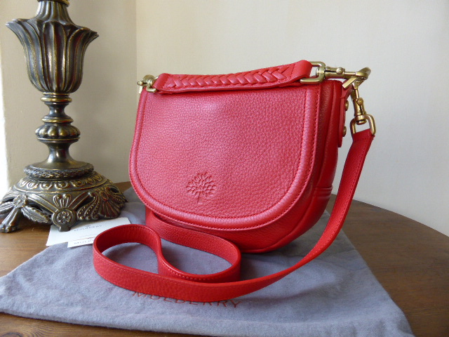 Mulberry Effie satchel Small red spongy pebbled NEW