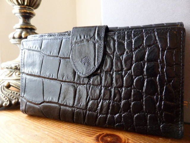 Mulberry Bifold Purse in Black Printed Leather - New