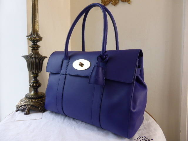 Mulberry Bayswater Cosmic Blue Polished Calf NEW