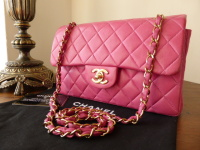 "Chanel Classic 2.55 Timeless 9"" Small Flap in Fuschia Pink Lambskin with Gold Hardware"