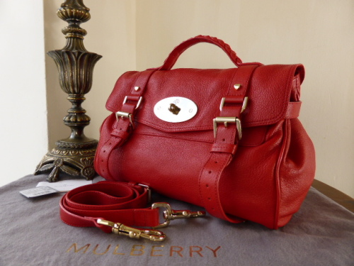 Mulberry Regular Valentine Alexa in Red Glossy Goat