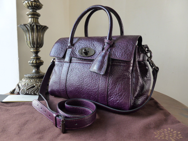 Mulberry Small Bayswater Satchel in Red Onion High Pebbled Patent Leather