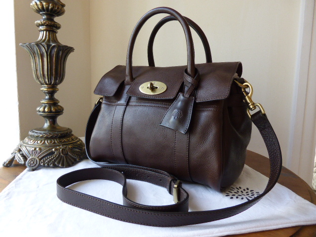 Mulberry Small Bayswater Satchel in Chocolate Natural Leather