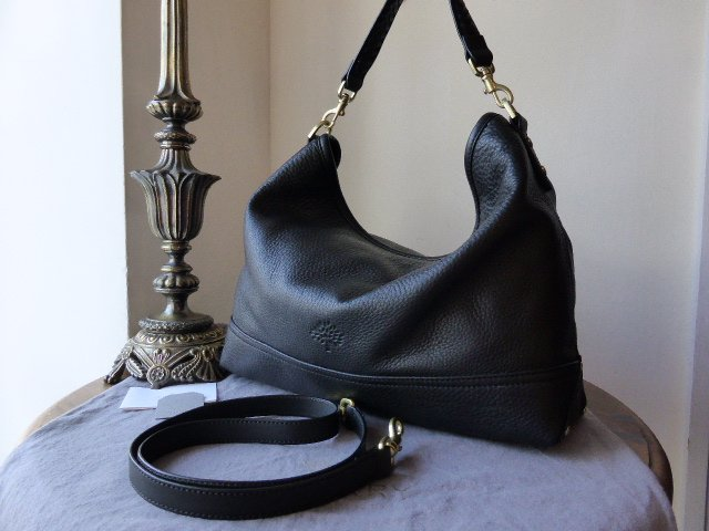Mulberry East West Effie Hobo in Black Spongy Pebbled Leather