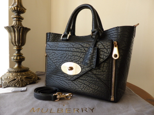 Mulberry Small Willow in Black Shrunken Calf Leather