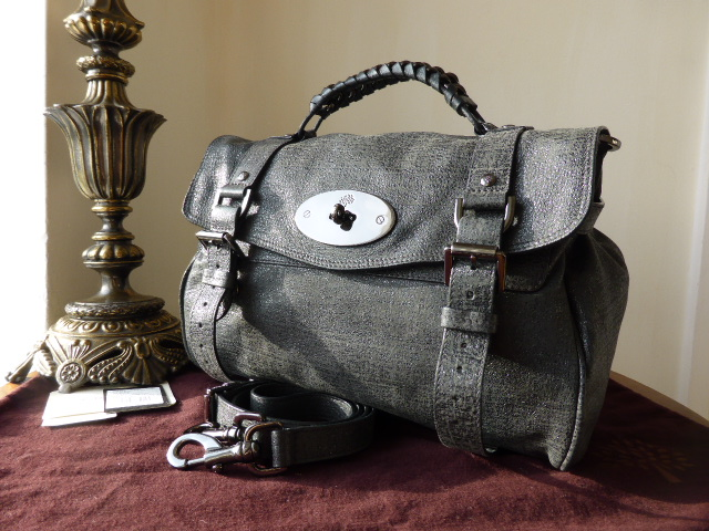 Mulberry Regular Alexa in Gunmetal Sparkle Tweed Leather