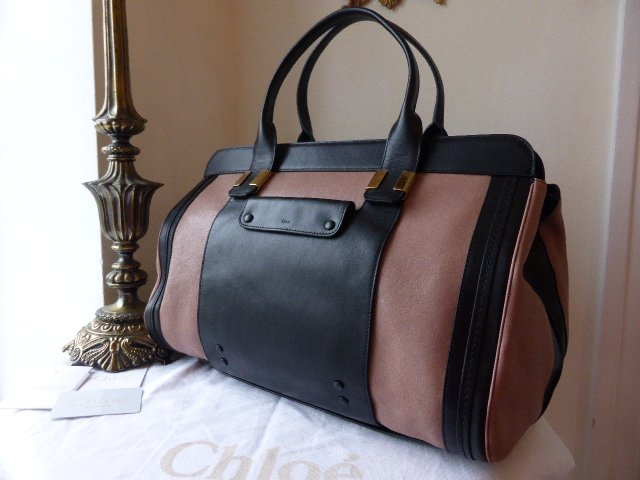 Chloe Alice Large Colourblock Tote in Tamaris & Black Calfskin - New