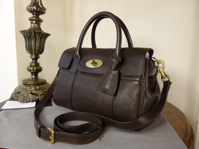 Mulberry Small Bayswater Satchel in Chocolate Natural Leather (Sub)