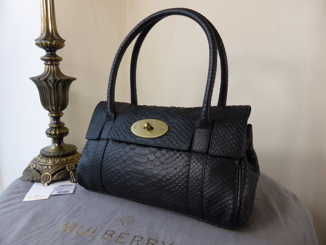 Mulberry East West Bayswater in Black Silky Snake Printed Leather