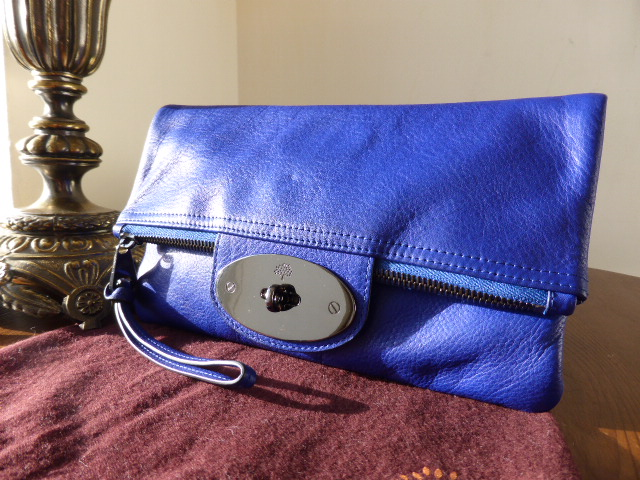 Mulberry Postmans Lock Clutch in Blueberry Glossy Buffalo Leather