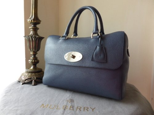 Mulberry Del Rey in Slate Blue Grainy Print Leather