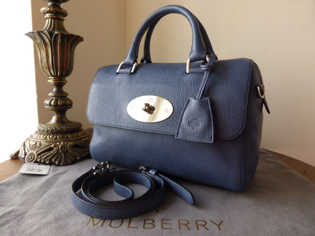 Mulberry Del Rey (Small) in Slate Blue Grainy Print Leather