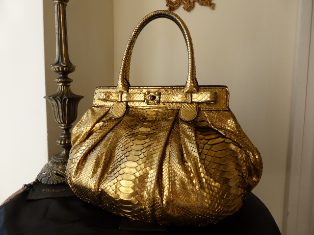 Zagliani Puffy in Gold Metallic Python